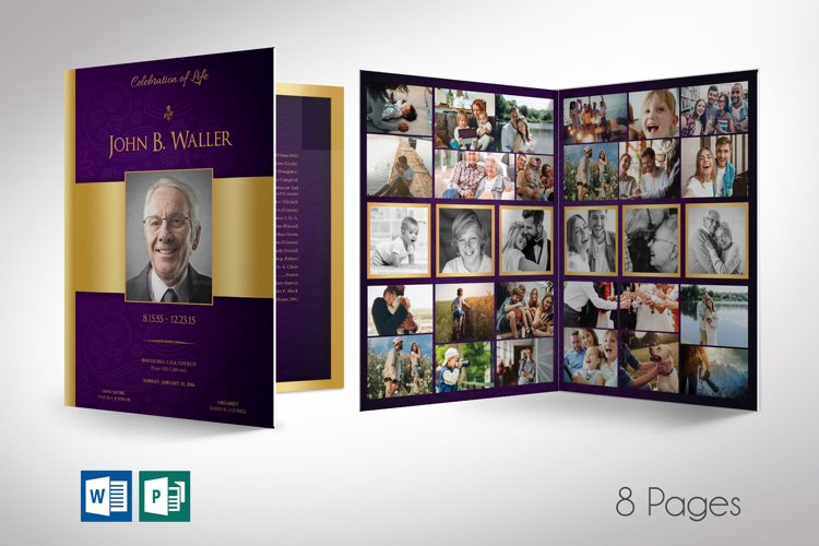 Purple Gold Regal Funeral Program Word Publisher Template