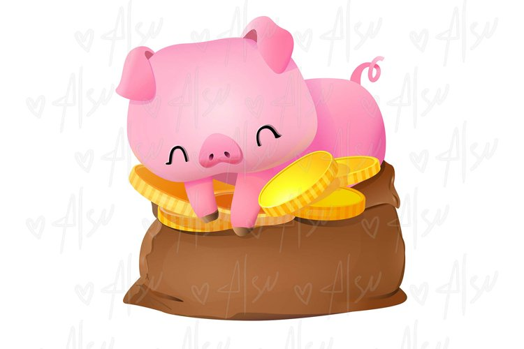 Cute pink pig sitting on a bag with gold coins vector