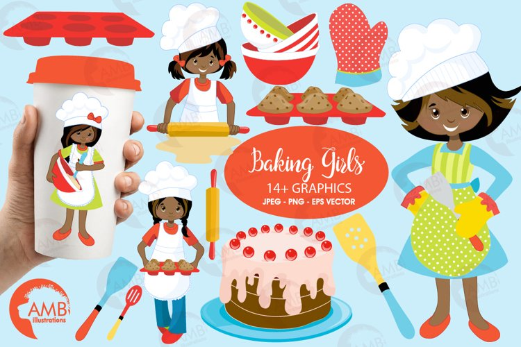 Baking clipart, cooking clipart, Girl chefs clipart, graphics and illustrations AMB-1135