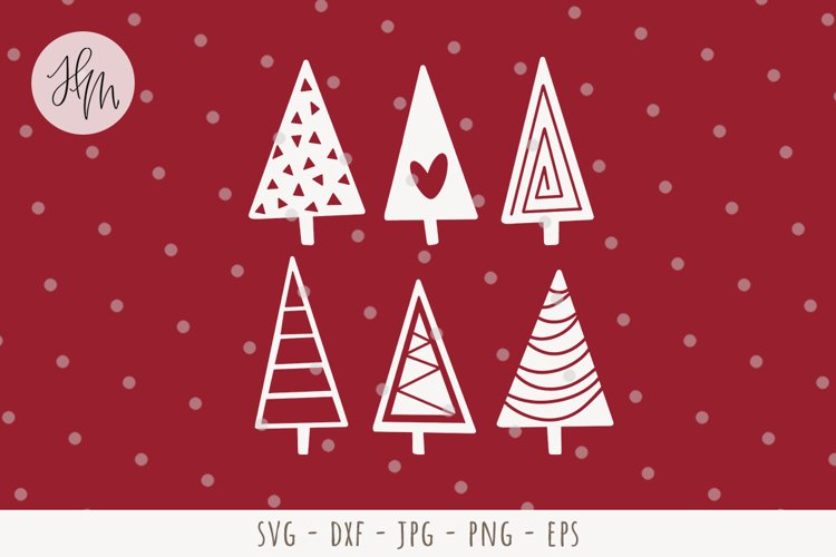 Christmas tree set cut file SVG DXF EPS PNG JPG example image 1