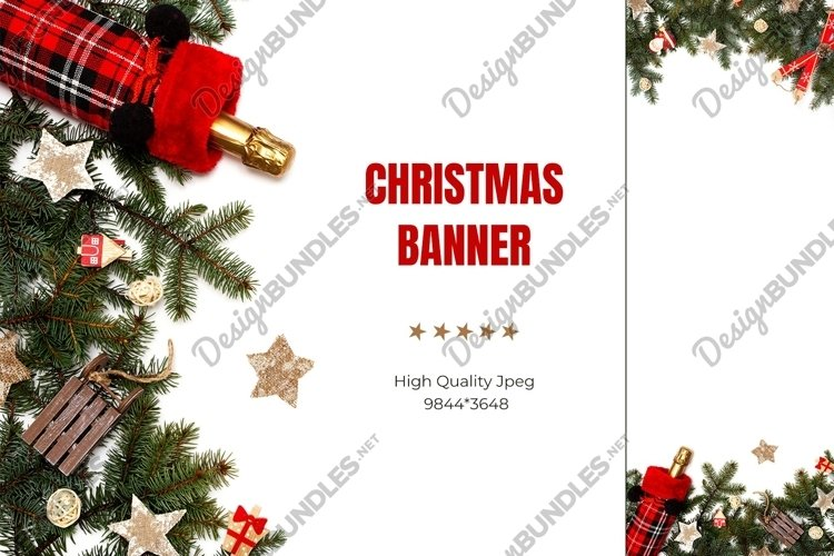 Christmas banner. Tree branches with zero waste decorations.