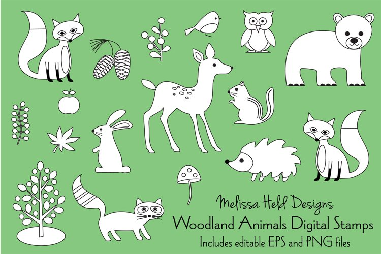 Woodland Animals Digital Stamps Clipart