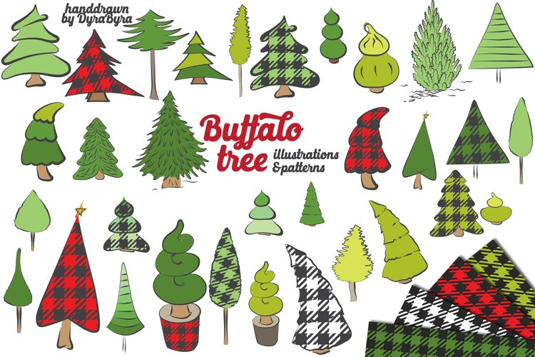 Buffalo Plaid Christmas Trees - Vector, SVG, EPS example image 1