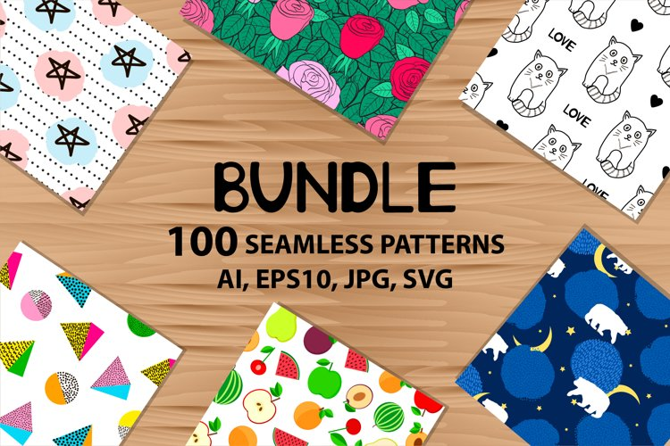 100 Seamless patterns. Digital papers. Bundle. example image 1