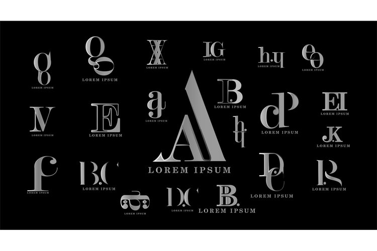 alphabet letter merging logo collection. Vector design example image 1