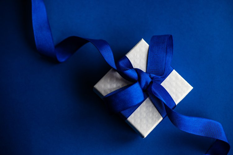 Valentine day holiday card concept with blue gift box example image 1