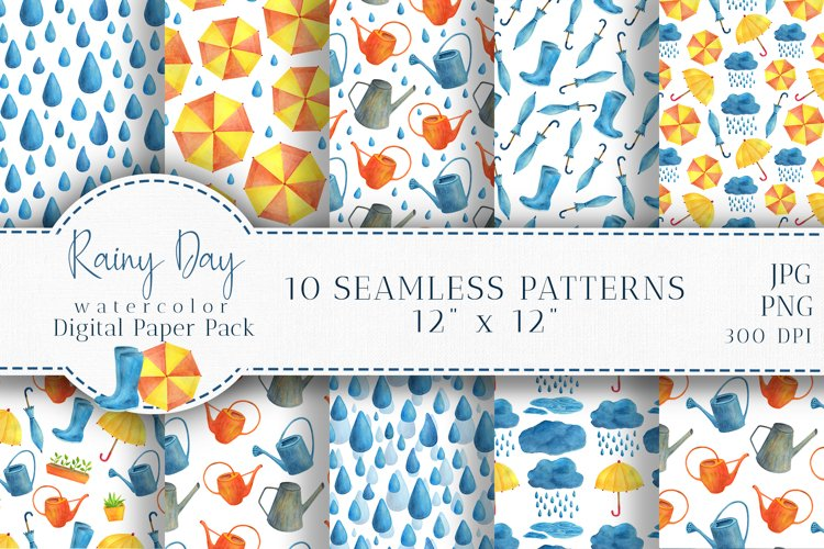 Watercolor Rain Digital Paper Pack. Spring Seamless Patterns example image 1