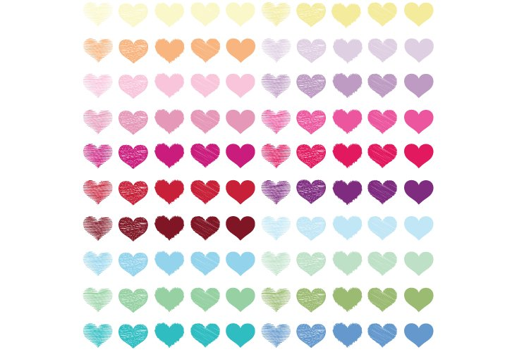 100 Hearts clipart PNG, Scribble Hearts, Hearts digital example image 1