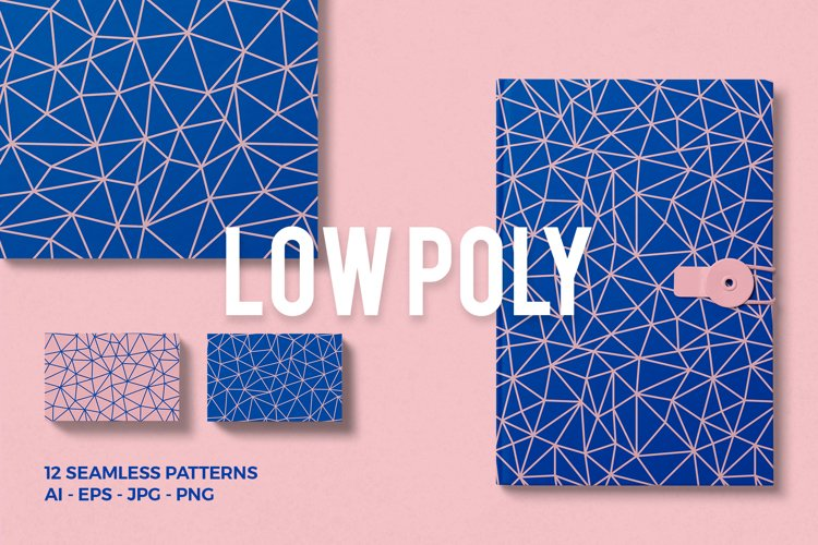Low Poly Seamless Patterns example image 1