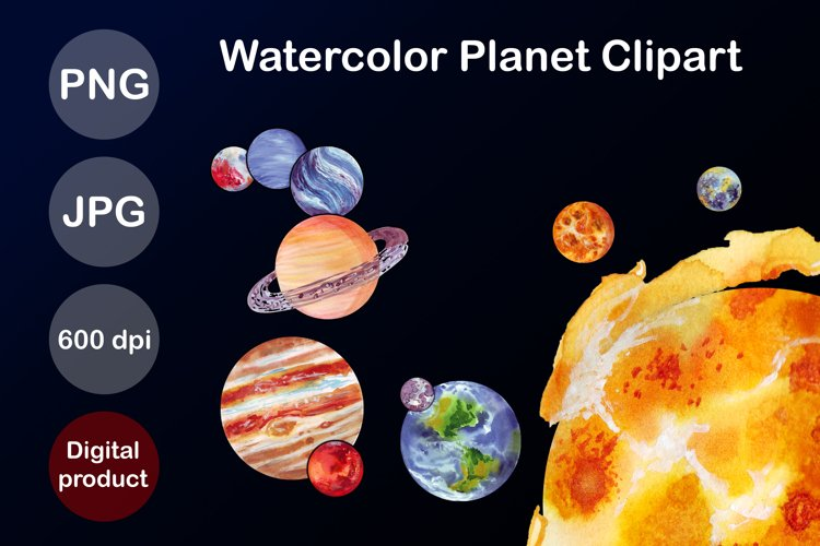 Planet Clip Art Watercolor Outer Space Explorer Sublimation