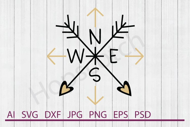 Arrows SVG, Compass SVG, DXF File, Cuttable File example image 1