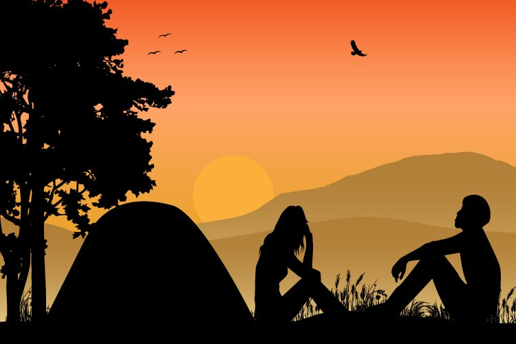 silhouette of camping with couple example image 1