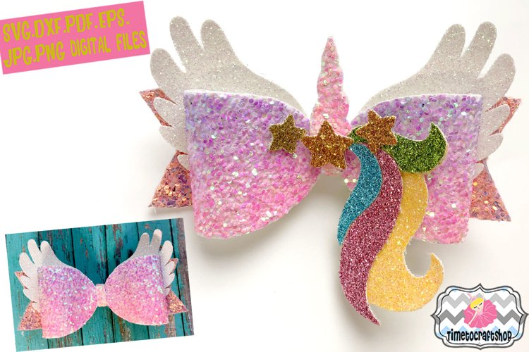 Magical Unicorn Angel Wings Hair Bow Template example image 1