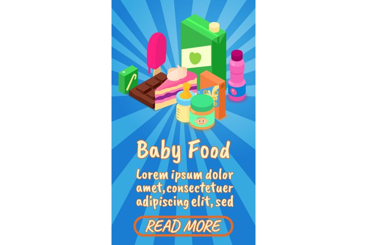 Baby food concept banner, comics isometric style example image 1