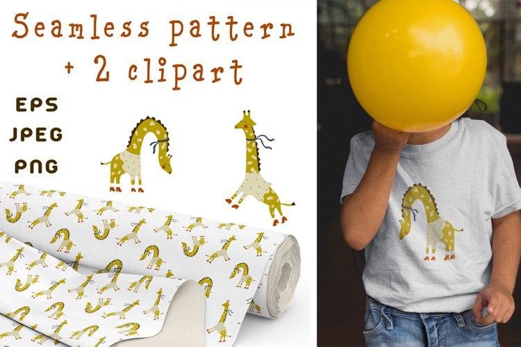 Funny giraffes. Seamless pattern and 2 clipart.