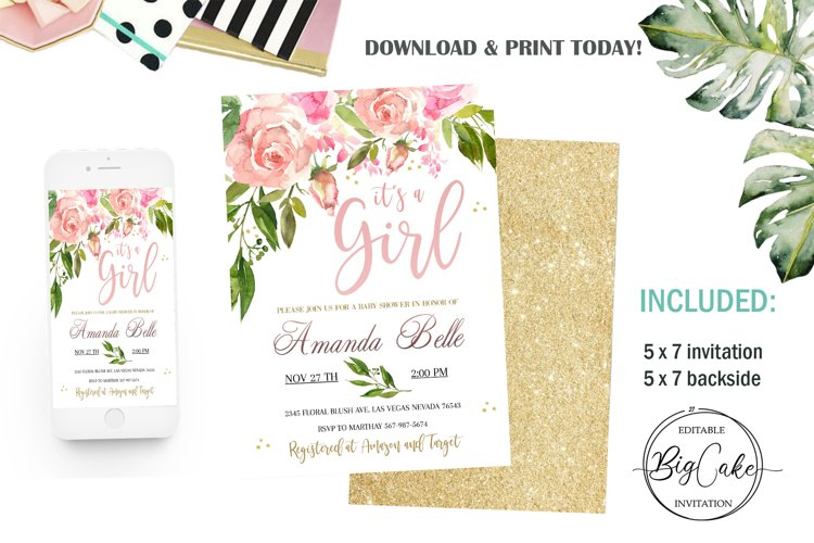 Invitation Blush Pink Floral Baby Shower Its a girl example image 1