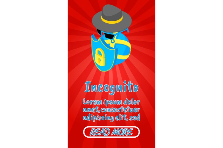 Incognito concept banner, comics isometric style example image 1
