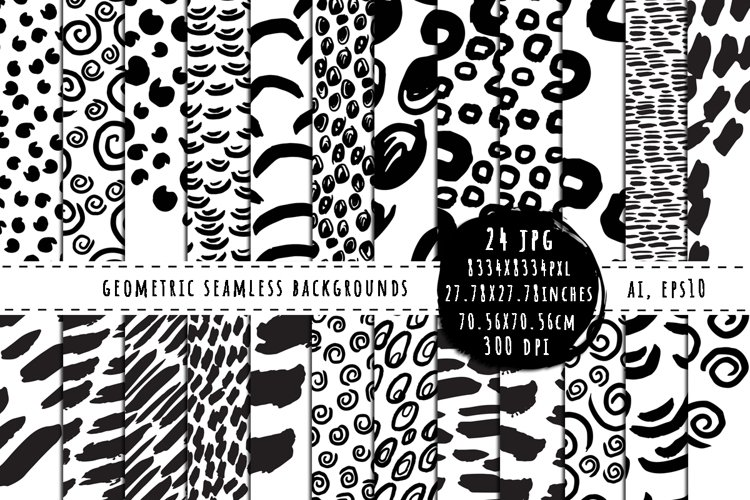Abstract Memphis seamless patterns universal use example image 1