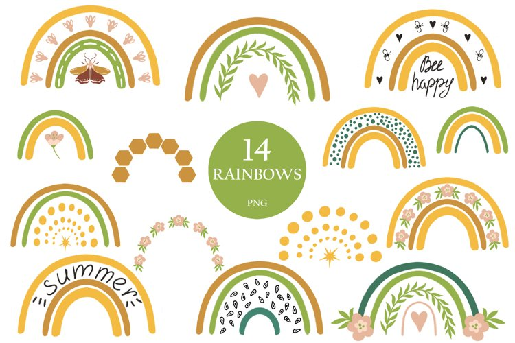 Rainbow clipart BEES and BOTANICALS example image 1