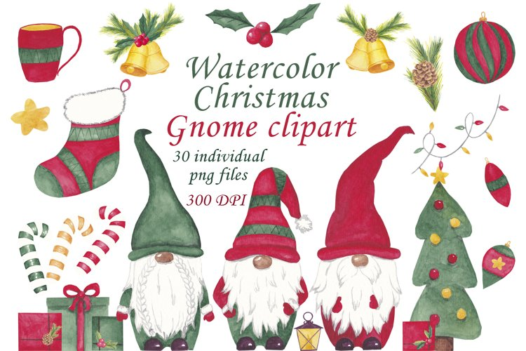 Watercolor gnome clipart Scandinavian christmas gnome