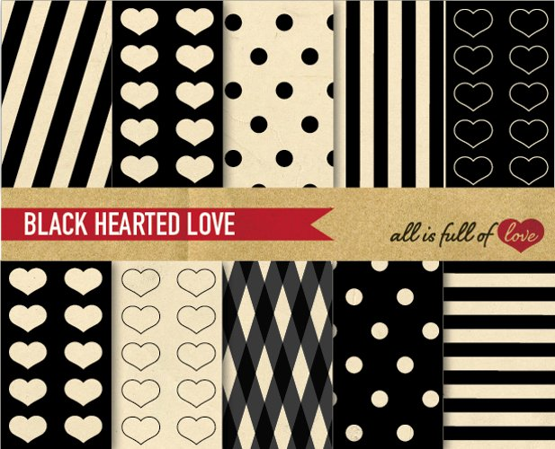 Black Background Patterns Digital Paper Pack with Vintage Background Paper example image 1