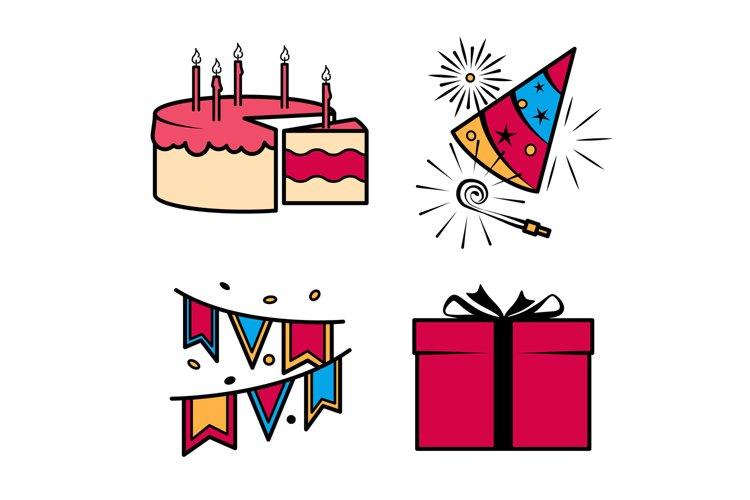 Birthday party celebration icons set example image 1