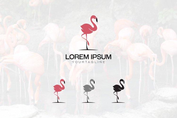 Flamingo Bird Beautiful Elegant Flat Exotic Logo Template example image 1