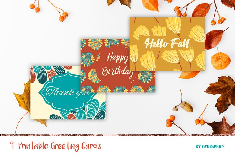 9 Fall Greeting Cards, Printable Autumn cards example image 1