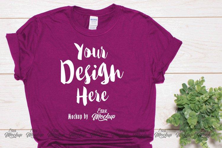 Berry Gildan 64000 T Shirt Mockup example image 1