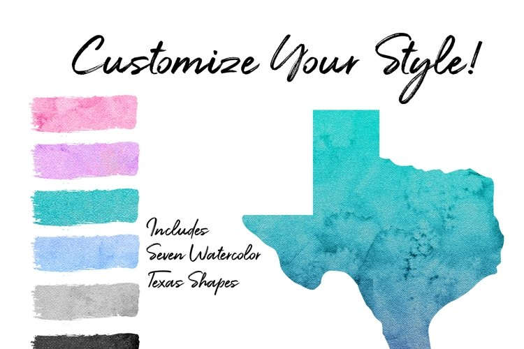 Texas State Watercolor Clipart Design Kit example image 1