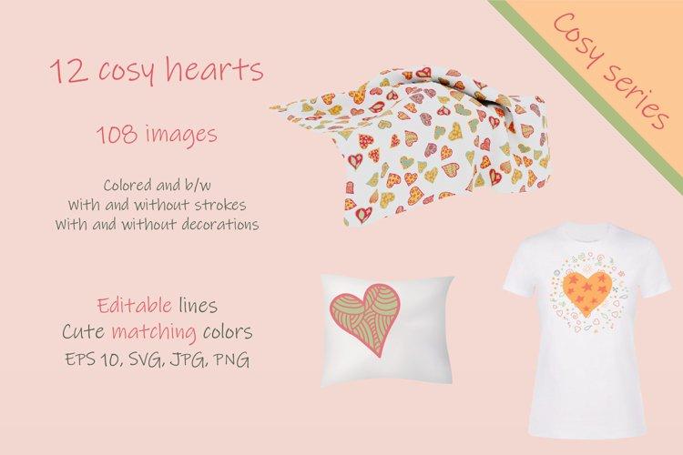 Set of cosy hand drawn hearts