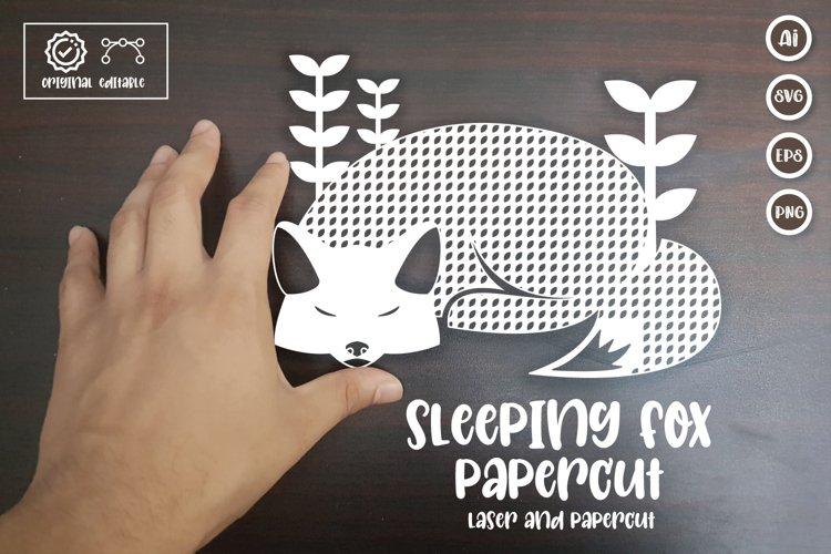 Sleeping Fox Paper Cut, Laser Cut Template