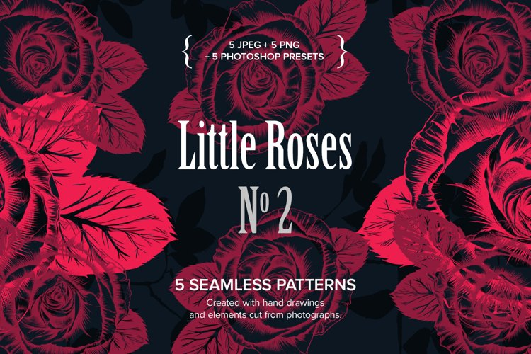 Little Roses No2 - 5 Seamless patterns example image 1
