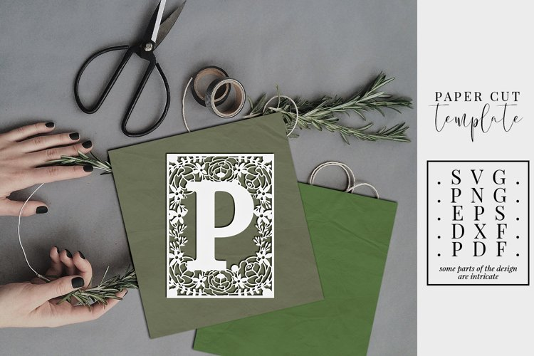 Floral frame letter P, single initial paper cut, wedding SVG example image 1