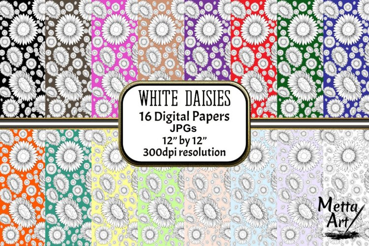 White Daisies - 16 Digital Papers/Backgrounds example image 1