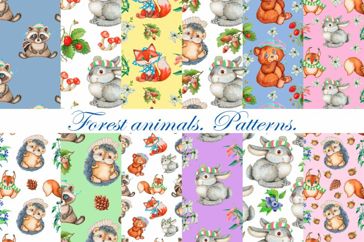 Seamless patterns. Forest animals. Watercolor.