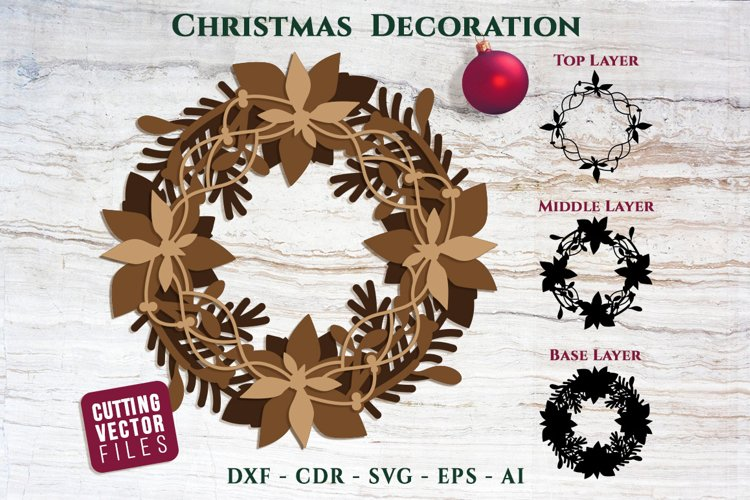 Christmas Wreath for Cutting - 3 Layers example image 1