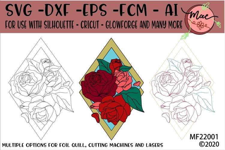 Floral Diamond SVG Foil Quill, Cutting and Laser Ready