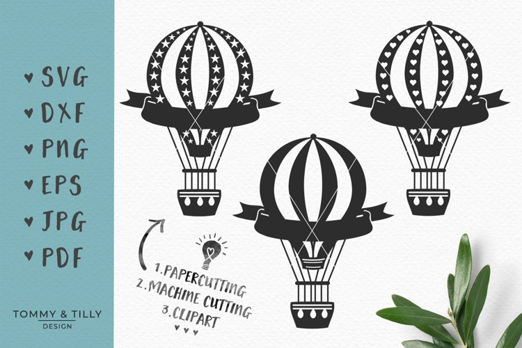 Kids Hot Air Balloons - SVG DXF PNG EPS JPG PDF Cutting File example image 1