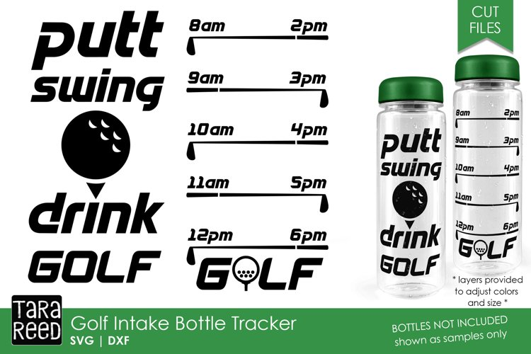 Golf Water Intake Bottle Tracker - Cut Files for Crafters