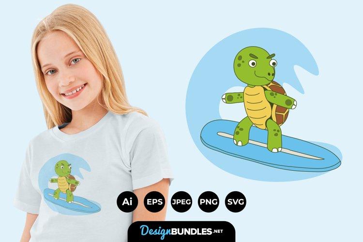 Surfing Turtle Illustration for T-Shirt Design