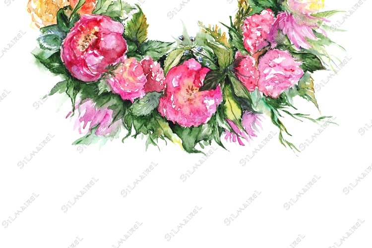 Watercolor flower floral romantic wreath frame illustration example image 1