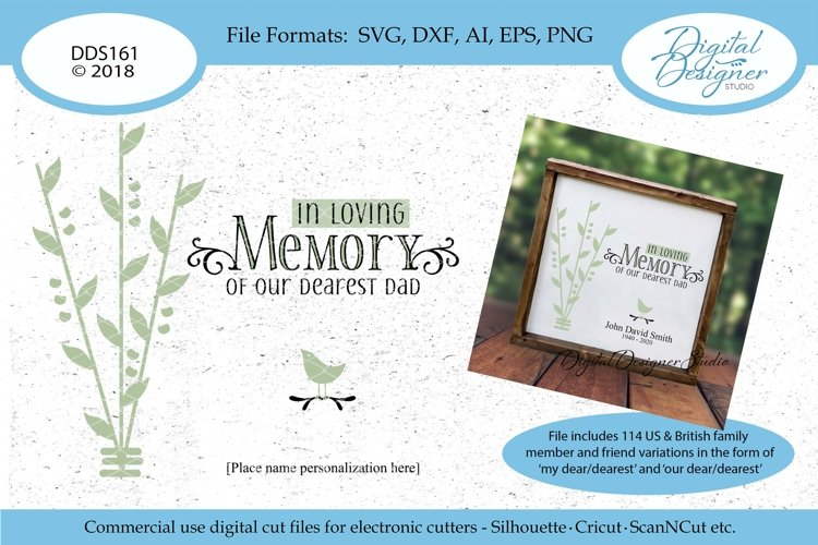 In Loving Memory Family Memorial SVG DXF EPS PNG AI Cut File