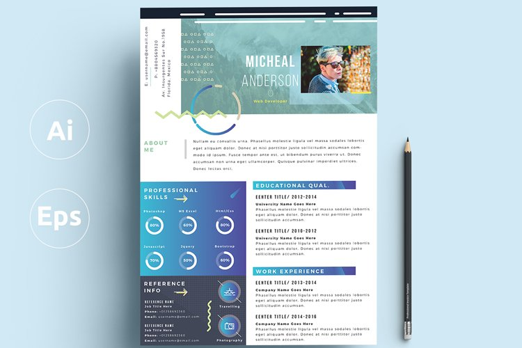 Modern Resume/Cv example image 1