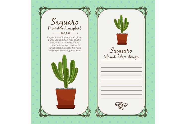 Vintage label with saguaro plant example image 1
