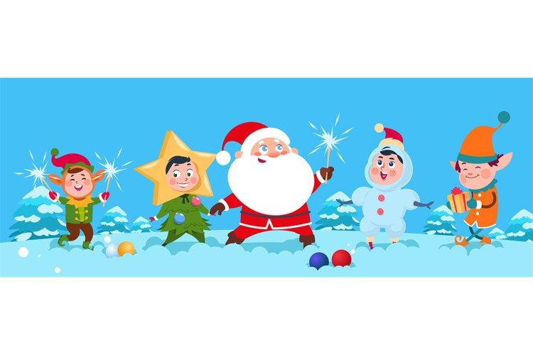 Winter background. Christmas Santa vector illustration. Happ