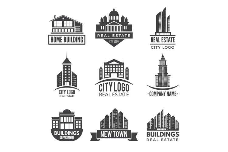 Real estate logos and monochrome labels example image 1