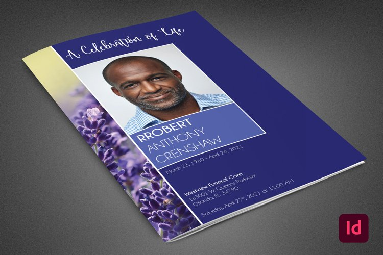 Blue Navy Funeral Program InDesign Template example image 1