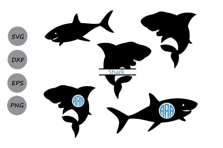 Shark svg silhouette, shark monogram svg, shark clipart.