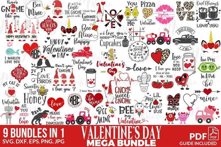 Valentines SVG mega design bundle.